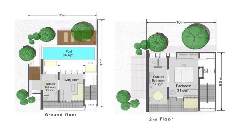 one bedroom duplex pool villa suite 333 sqm