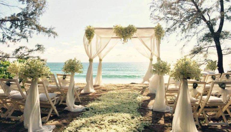 Beach lawn wedding